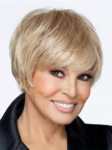 Blonde 0 Boycuts Straight Synthetic Elderly Women Wigs