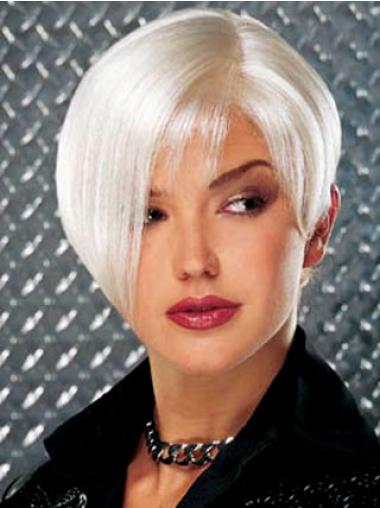 Straight Short Synthetic Best Deals Discounts Silver Grey Wig