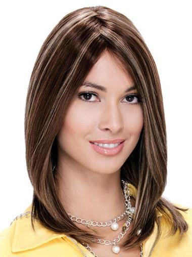 Auburn Without Bangs Amazing Human Hair Straight Medium Length Wigs