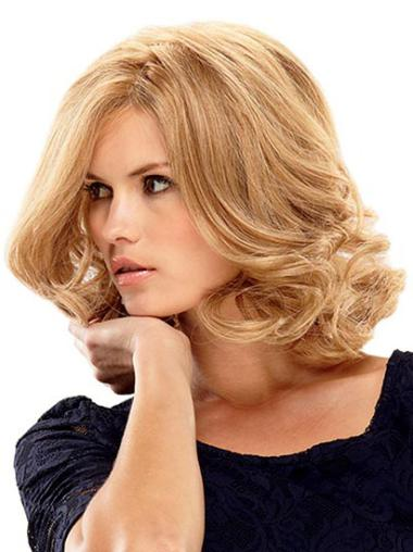 Blonde Wavy Layered Shoulder Length Sassy Synthetic Wig
