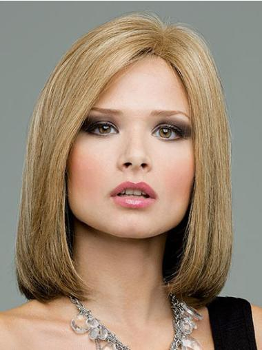 Straight Bobs Shoulder Length Beautiful Blonde Human Lace Front Wigs