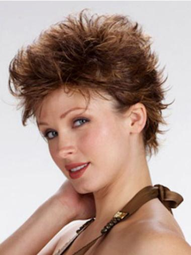 100% Hand-Tied Brown Boycuts Cropped Exquisite Best Synthetic Wigs Online