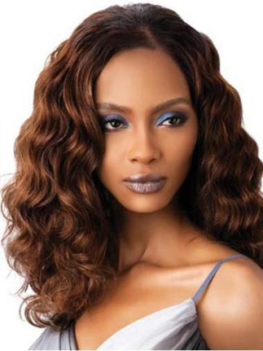 Auburn Wavy Without Bangs Shoulder Length Designed Glueless Full Lace Human Hair Wigs