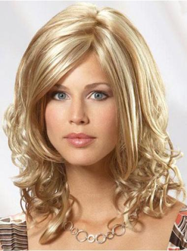 Blonde Wavy Without Bangs Shoulder Length Flexibility Human Hair Wigs For Women
