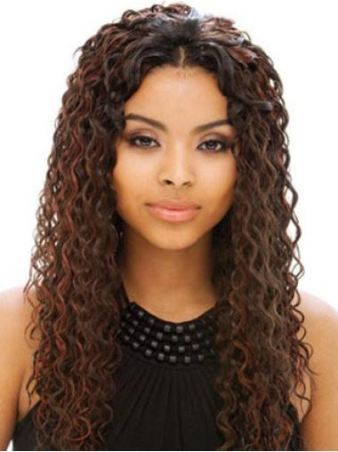 Auburn Long Curly Without Bangs Full Lace Human Wigs For Black Womens