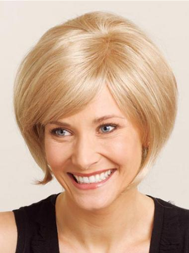 100% Hand-Tied Blonde Bobs Chin Length Ideal Lace Wig Bob Cut