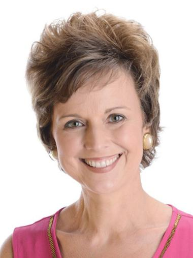 """8"""" Hairstyles 100% Hand-Tied Layered Short Remy Human Hair Wig"""