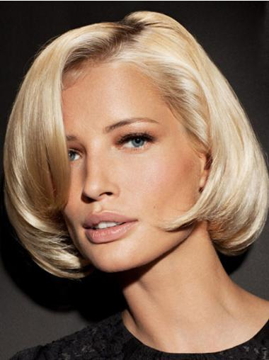 Straight Synthetic Fashionable Bob Blonde Lace Front Wig