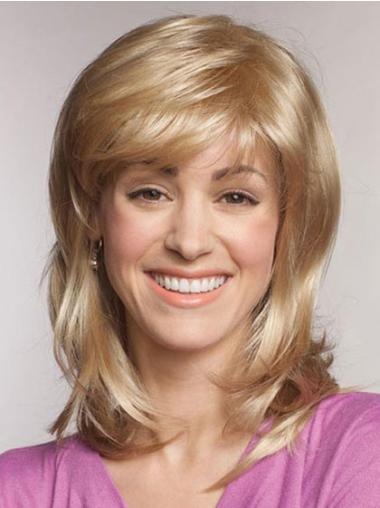 Synthetic Straight Lace Front Gorgeous Medium Lenght Blonde Wigs
