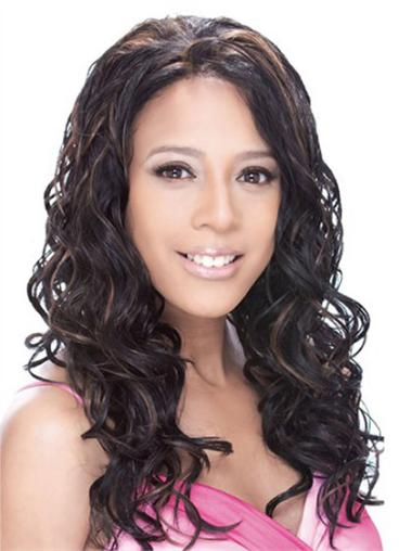 Good Lace Front Wavy Without Bangs Synthetic Cheap Nice Long Wigs