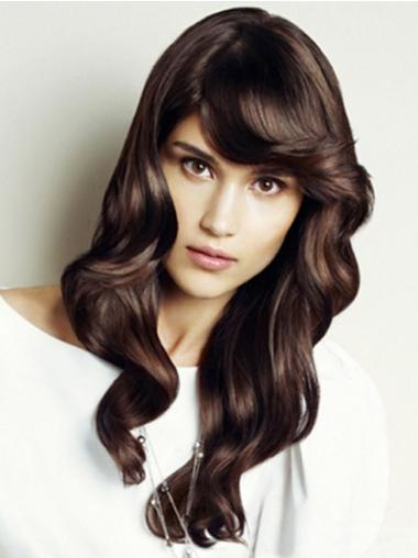 Discount Lace Front Wavy With Bangs Synthetic Long Auburn Wig
