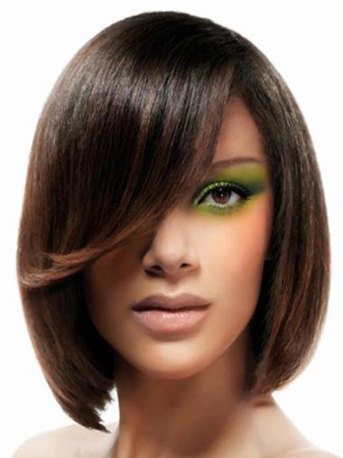 Straight 16 Inches Chin Length Natural Bob Lace Front Synthetic Wigs