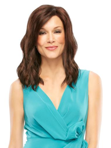 Synthetic Wavy Lace Front Designed Medium Brown Wig