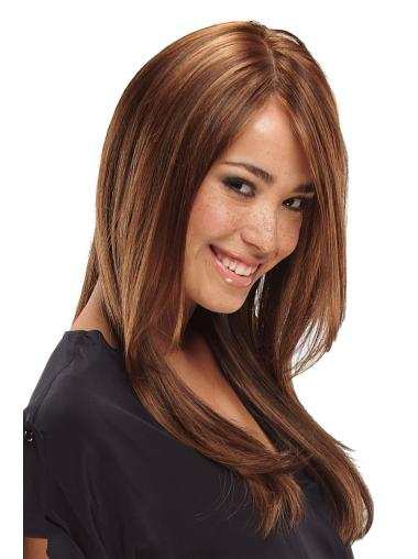 With Bangs Lace Front Straight Durable Wig Brown Long