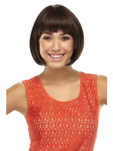 Brown Chin Length Stylish Bob Synthetic Lace Wig