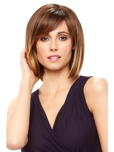 Brown Chin Length Soft Bob Lace Synthetic Wigs