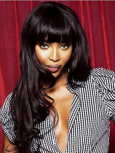 Fashionable Lace Front With Bangs Long Wavy Naomi Campbell Natural Black Human Hair Wigs