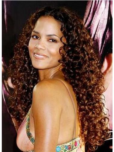 Lace Front Without Bangs Long Gorgeous Halle Berry Indian Remy Human Hair Wig