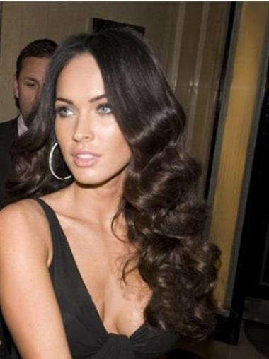 "Exquisite Without Bangs 24"" 100% Hand-Tied Megan Fox Long Black Wavy Wig Human Hair"