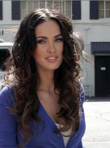 No-Fuss 100% Hand-Tied Without Bangs Wavy Auburn Megan Fox Long 100% Human Hair Wig