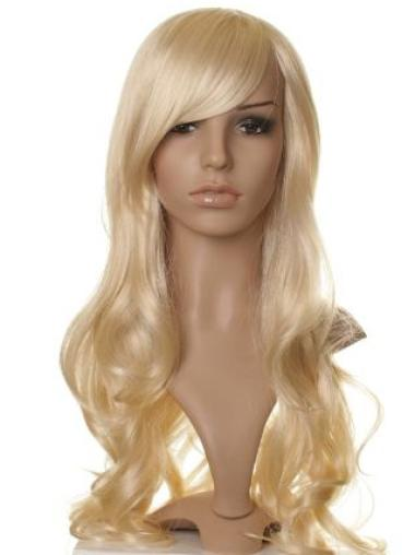 Capless With Bangs Designed Long Blond Wigs