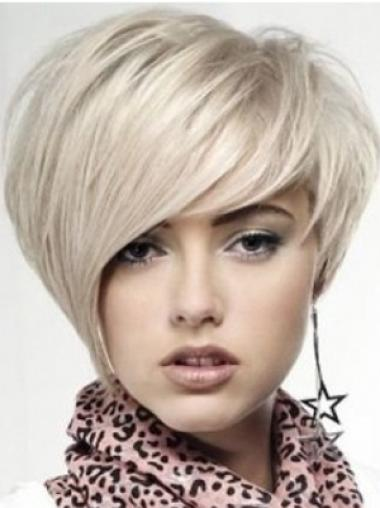Monofilament Chin Length Straight Blonde Soft Celebrity Beautiful Human Hair Wigs