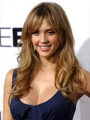 Wavy Monofilament Brown Natural Jessica Alba Remy Wigs Human Hair