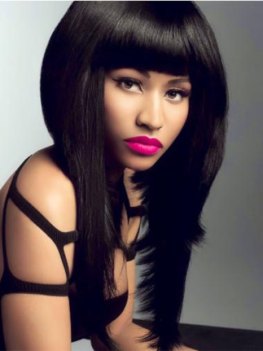 Convenient Lace Front Long Straight Nicki Minaj Human Hair Black Wig With Bangs