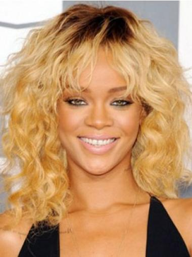 Capless Layered Shoulder Length Sleek Rihanna Blonde Wig