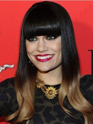 Straight Monofilament Ombre/2 Tone Jessie J Human Hair Wigs Cheap