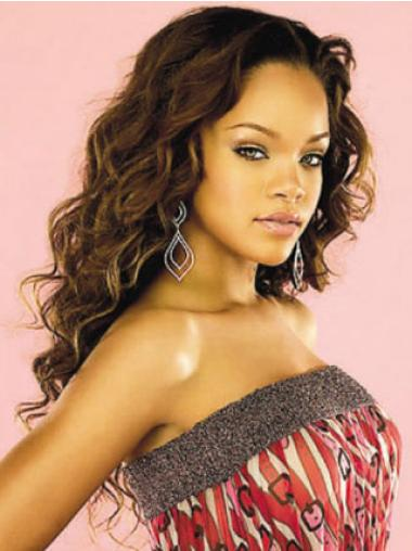 Without Bangs Auburn Long Designed Rihanna Celebrity Lace Front Human Hair Wigs