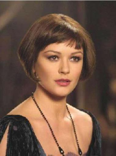 Short Brown Straight Bobs Style Velma Kelly 100 Percent Remy Human Hair Wigs