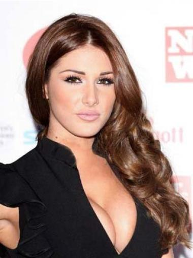 Great 100% Hand-Tied Without Bangs Wavy Remy Human Hair Lucy Pinder Wigs