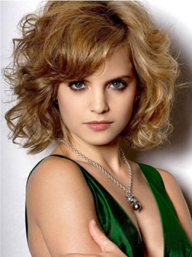 Celebrity Wig Makers With Bangs Wavy Chin Length Synthetic Convenient Mena Suvari