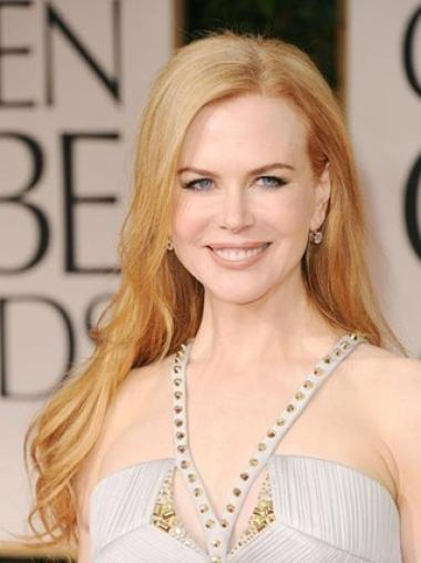 Celebrity Custom Lace Front Wigs Without Bangs Long No-Fuss Nicole Kidman