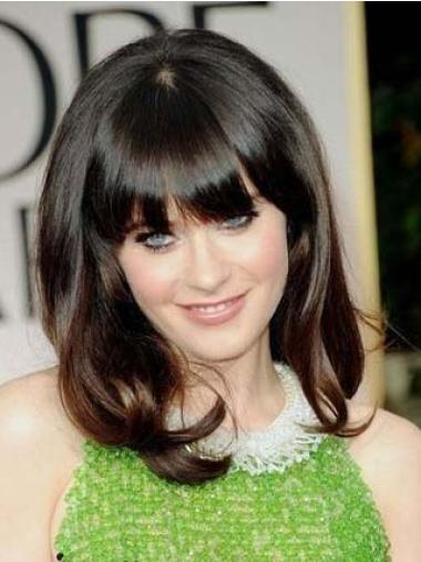 Shoulder Length Brown Cheapest Zooey Deschanel Wavy Human Hair Wigs With Bangs