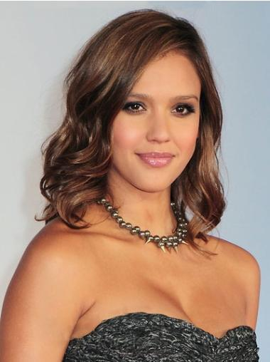 Celebrity Shoulder Length Hair Wigs Wavy 12 Inches No-Fuss