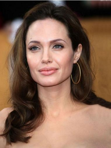 "100% Hand-Tied Brown Without Bangs 16"" Fashion Angelina Jolie Long Hair Wigs Human Hair"