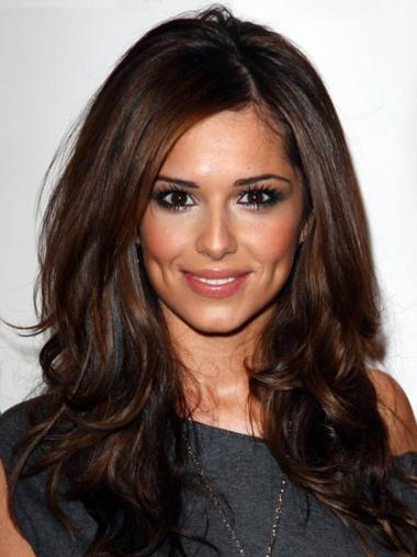 "Layered Long 18"" Comfortable Cheryl Cole Auburn Wavy Human Hair Wigs"