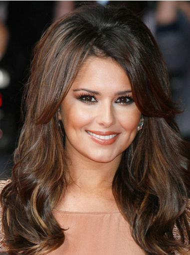 "With Bangs Long Wavy 16"" Soft Cheryl Cole Real Human Hair Wigs For Sale"