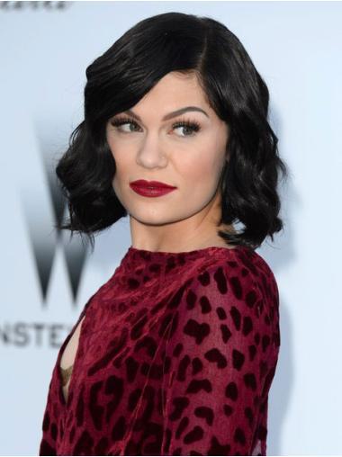 "10"" Chin Length Wavy Black Monofilament Jessie J Beautiful Human Wigs"