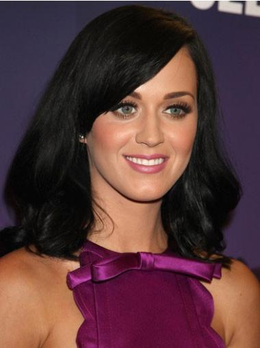 "High Quality 16"" Monofilament With Bangs Katy Perry Wigs Medium Length Black Human Hair Wig"