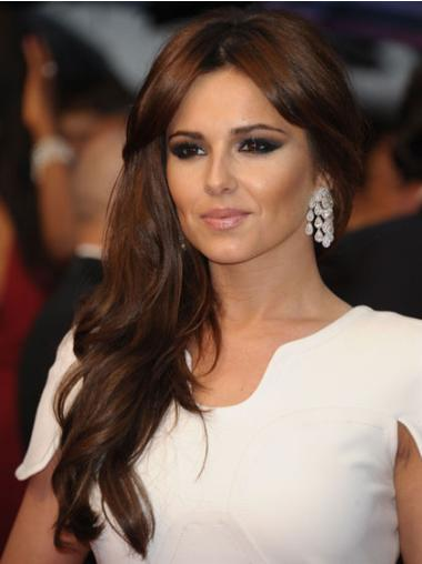 "Long Wavy 18"" Durable Cheryl Cole Wigs With Bangs Human Hair"