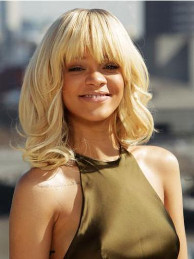 Capless With Bangs Shoulder Length 14 Inches Hairstyles Rihanna Curly Wig