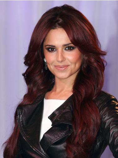"""Without Bangs Long Wavy 20"""" Great Cheryl Cole Red Human Hair Wigs"""