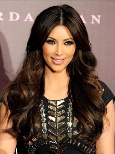Perfect Wavy Long Without Bangs Hand Tied Human Hair Black Wigs For Sale