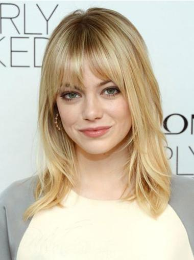 Shoulder Length Hair Capless Wigs With Bangs 16 Inches