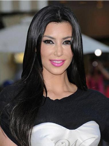"Long Monofilament Without Bangs 20"" Hairstyles Kim Kardashian Human Black Hair Wigs Good Quality"