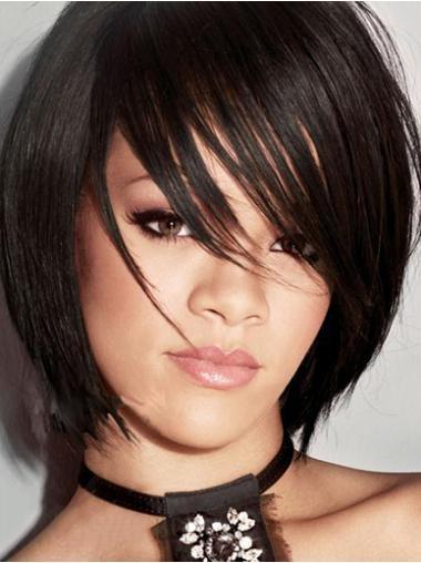 Capless Black Bobs Comfortable Rihanna Wigs Styles
