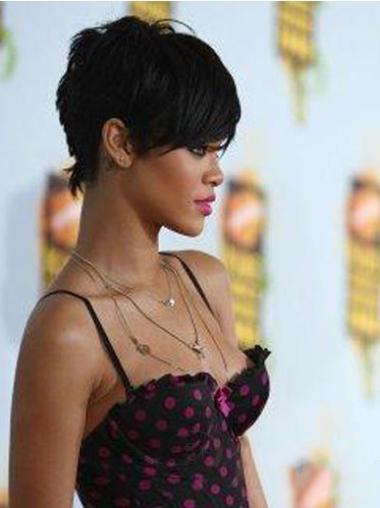 Capless Black Boycuts Soft Rihanna Short Wig